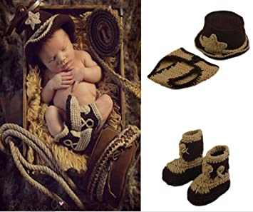 cb9807622fa3af Baby Crochet Knitted Photo Photography Prop Outfit Clothes Handmade Baby  Photography Suit Western Cowboy Style Suit