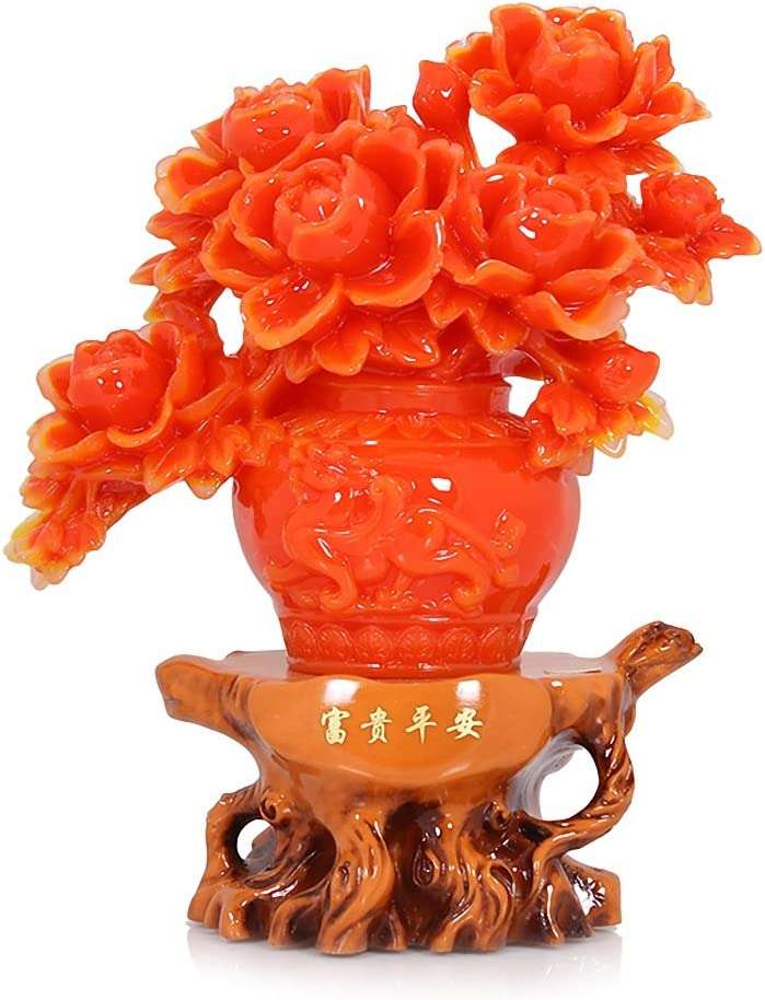 Red Color Peony Flower Statue, Attract Wealth and Good Luck,Feng Shui Decor