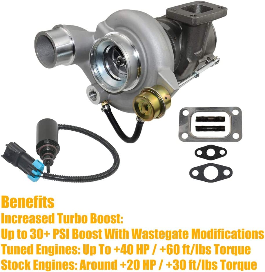 HE351CW Turbo Turbocharger w//Gaskets Wastegate Control Solenoid for 5.9 Dodge Ram 2500 3500 04-07 ISB Cummins Diesel HY35W MSQ-CD