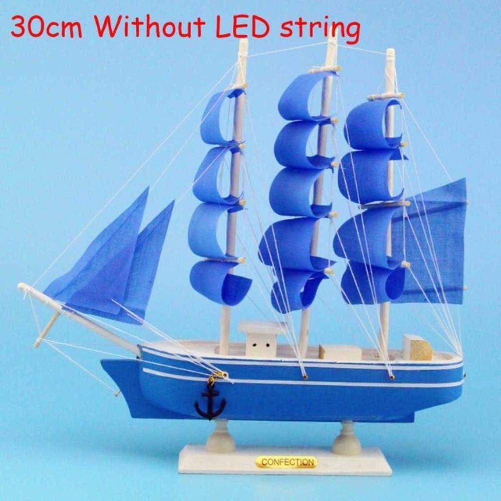 Blu 20Cm MCXKAL Illuminazione A LED Modello di Barca A Vela 20//24//30 Cm Kit di Assemblaggio di Navi Fai-da-Te Kit di Barche A Vela in Legno Fatte A Mano Classiche Giocattoli per Bambini Regalo