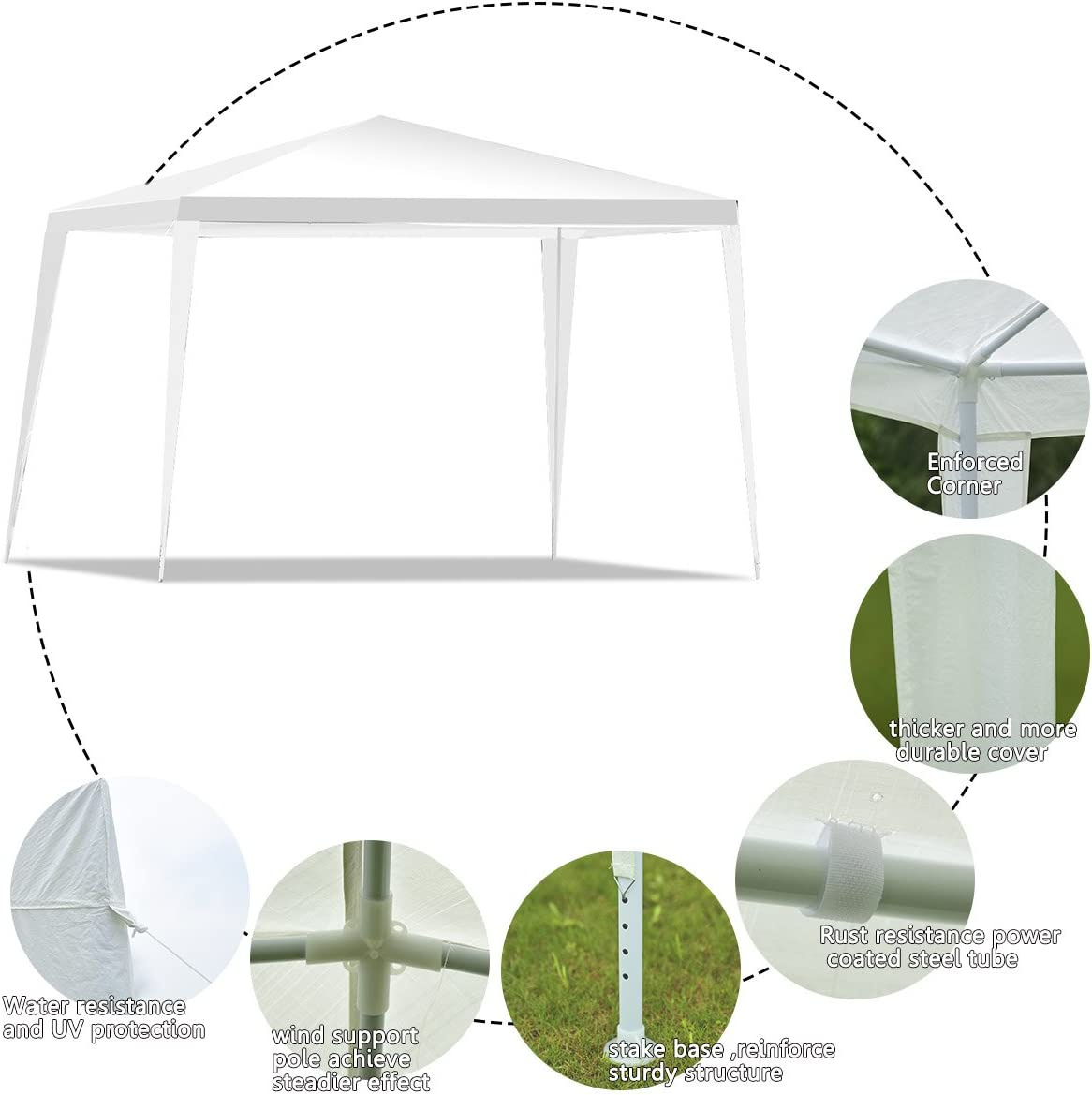 tettoia Pieghevole e Impermeabile Campeggio GYMAX per Feste in Giardino 3 x 3 m Colore Bianco Matrimoni Gazebo da Esterni Tenda Pop-up con 4 Corde Antivento