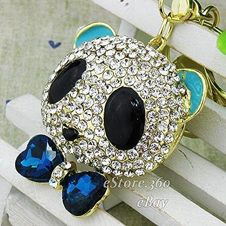 Crystal oso panda de llavero llavero clave cadena anillo de ...