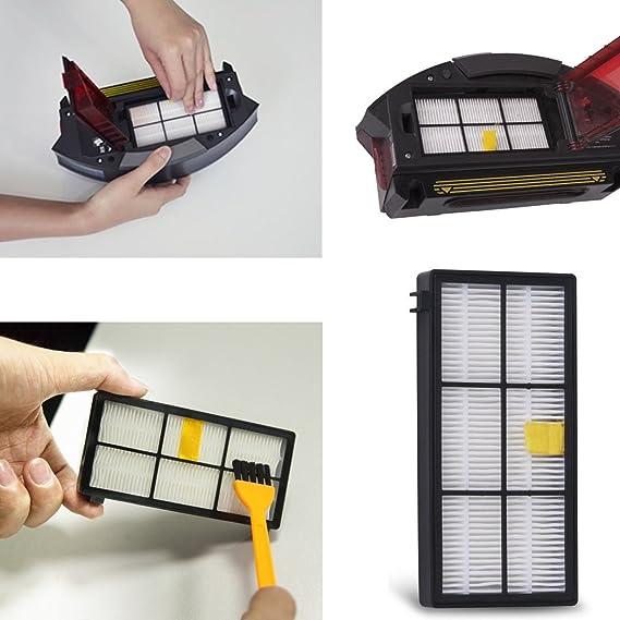 Filtro HEPA para iRobot Roomba 800 870 880 aspiradora de 980, HONGFA Kit de filtros de repuesto (800 Serie, 900 Serie): Amazon.es: Hogar