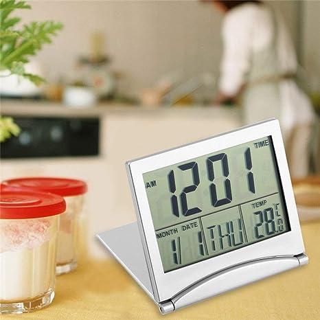 leoboone Diseño Moderno Plegable Escritorio portátil Pantalla LCD Digital Termómetro Calendario Reloj Despertador Cubierta Flexible Datos