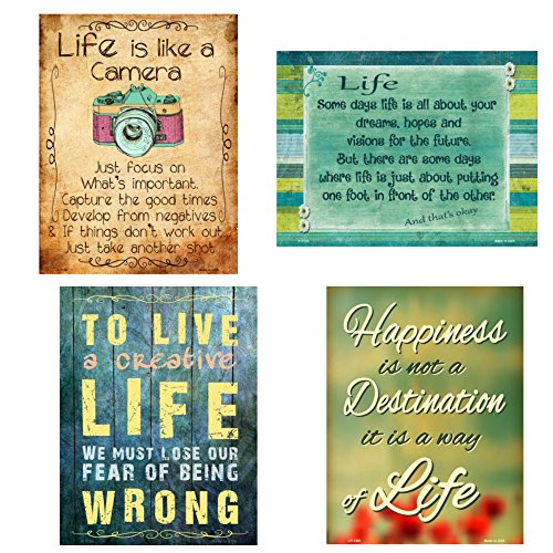 Life Like Home Accent - Bundle: Metal Home Decor Life Quotes Signs - Life is Like a Camera, Life And That's Okay, Creative Life and Happiness
