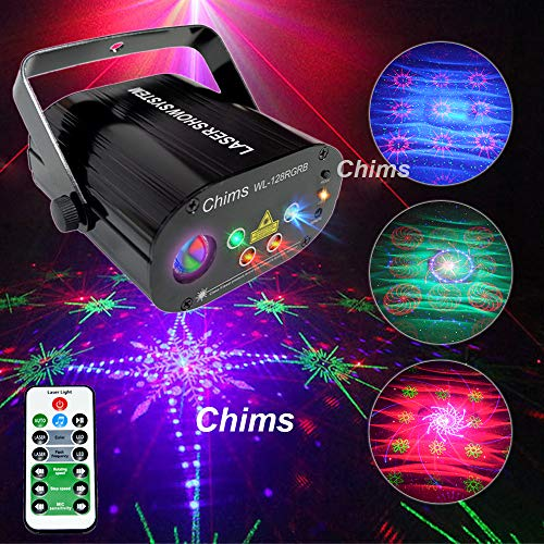 - Chims DJ Laser Lights Projector Red Green Blue Colorful 128 Patterns with RGB Galaxy LED Ripple Wave Lighting System for Party DJ Stage Disco Music Show Bar Club Xmas (4 Lens RGB 128 Patterns)