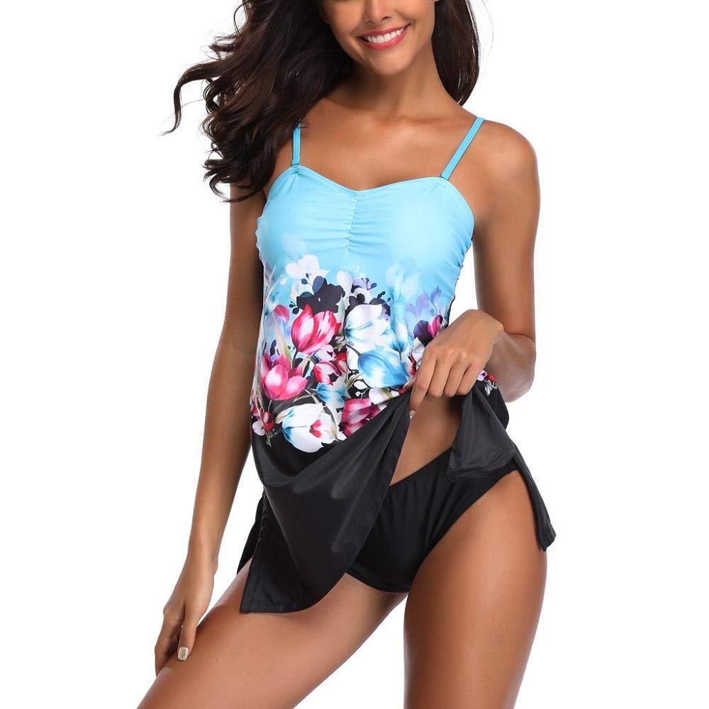 YEBIRAL Tankini Set Damen Bauchweg Röckchen Badekleid Strandmode Figuroptimizer Bikini Badeanzüge mit Slip Große Größen Bademode