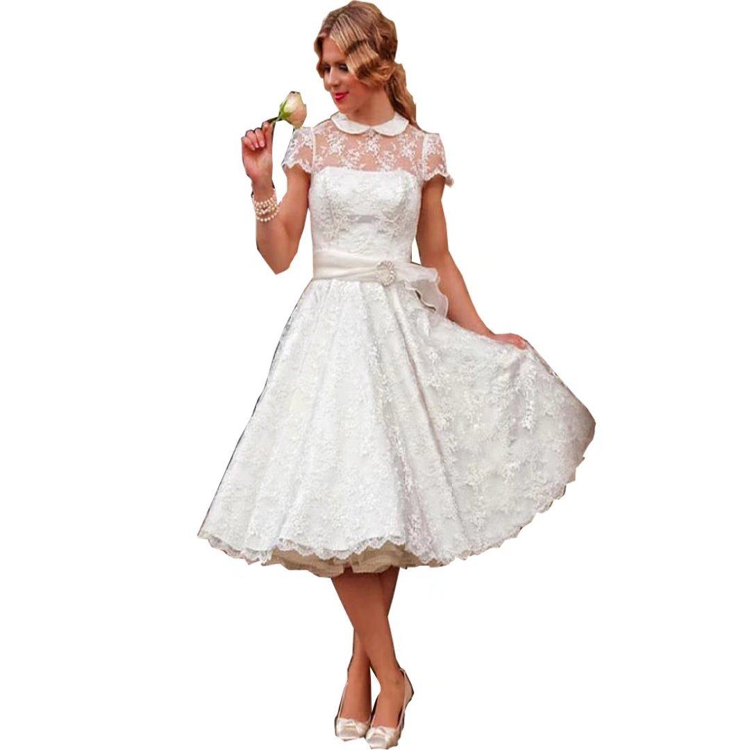 Dingdingmail Knee Length Lace Appliques Cap Sleeves Wedding Dresses