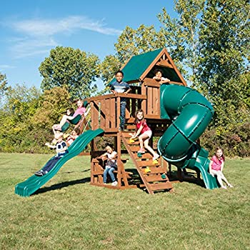 Amazoncom Cedar Summit Wooden Play Set Complete Park Forts Slides