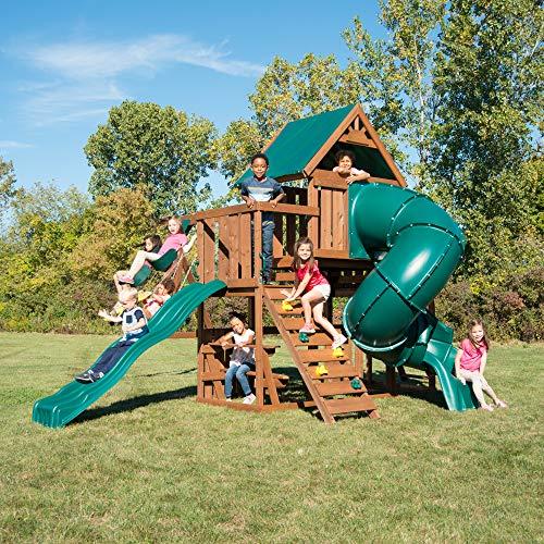 (Swing-N-Slide WS 8358 Denali Tower Swing Set with Two Slides, Climbing Wall & Swings, Wood)