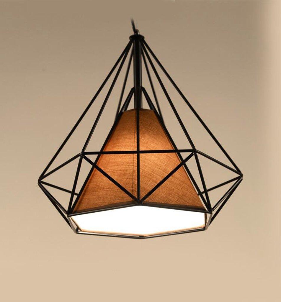 380mm  aoligei Fer Lustre LED Pyramide Cage à oiseaux simple lampe de créatifs Chambre seule tête lustre lampe américaine lustre 280 mm 380mm