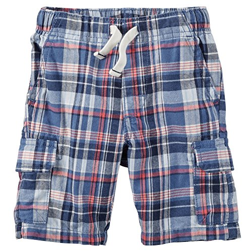 Plaid Shorts Canvas (Carter's Plaid Canvas Shorts, Red/White/Black, 2T)