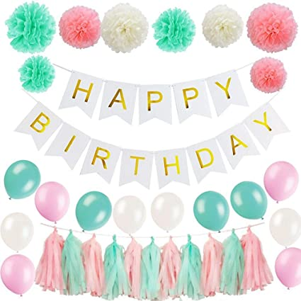 ShiDianYi Mint Birthday Decorations Happy Banner Party Centerpieces For Girls First Girl