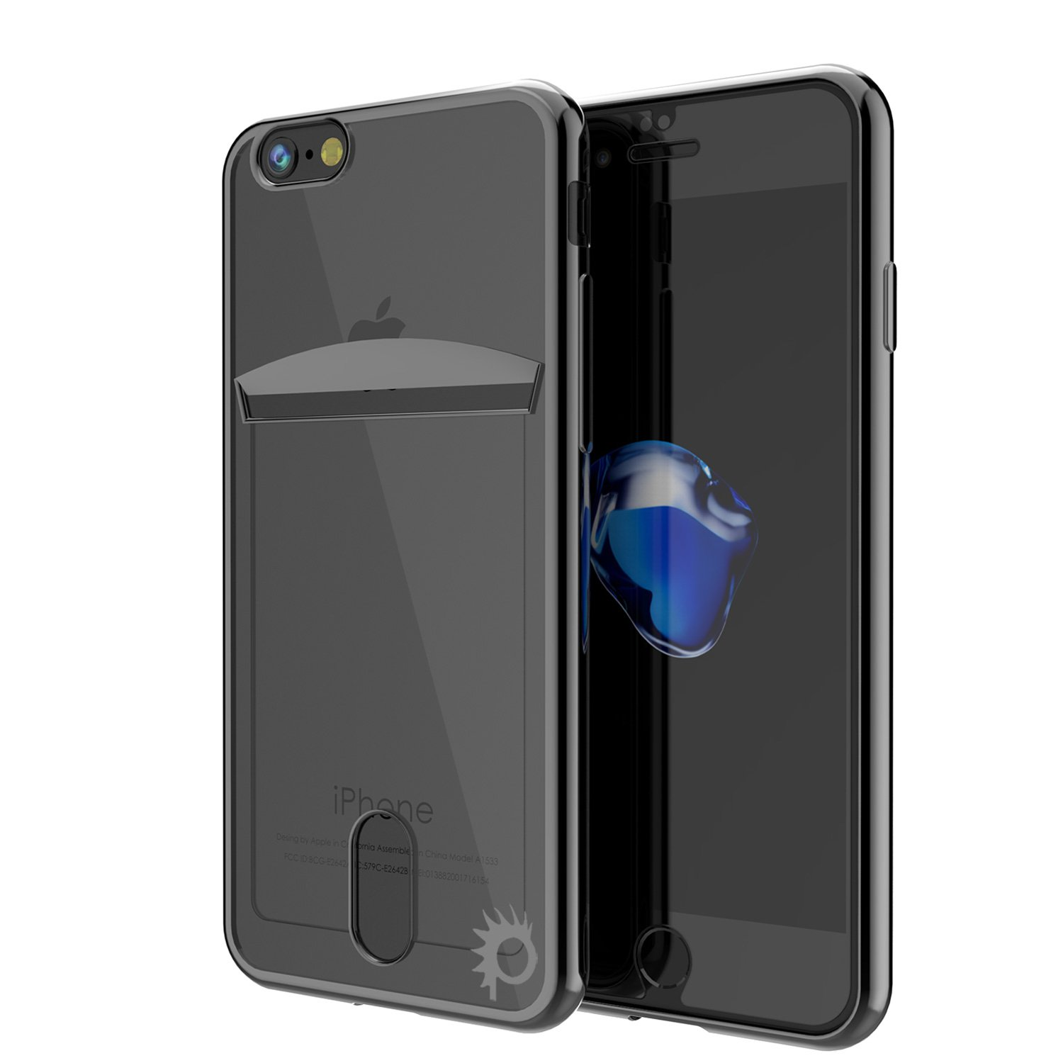 iPhone 7s/7 Case, PUNKcase [Lucid Series] Slim Fit Protective Dual Layer Armor Cover W/Scratch Resistant PUNKSHIELD Screen Protector - [Card Slot Design] for Apple iPhone 7/7s [Black]