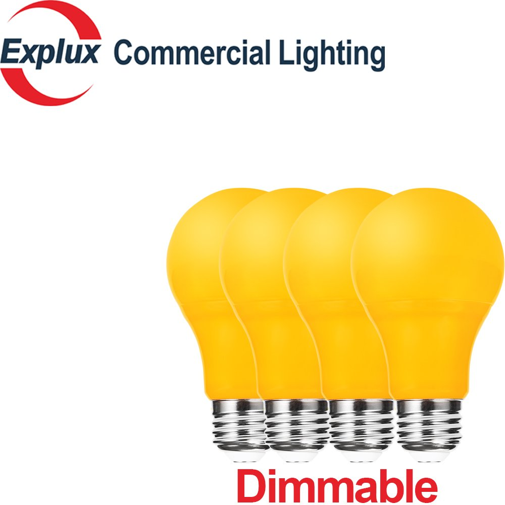 Dimmable Yellow A19 LED Bulbs, Bug Light, 60W Replacement High-Output Version, 5W Yellow LED A19 Light Bulbs, Bug-Away Bulbs, Yellow Color (Pack of 4)