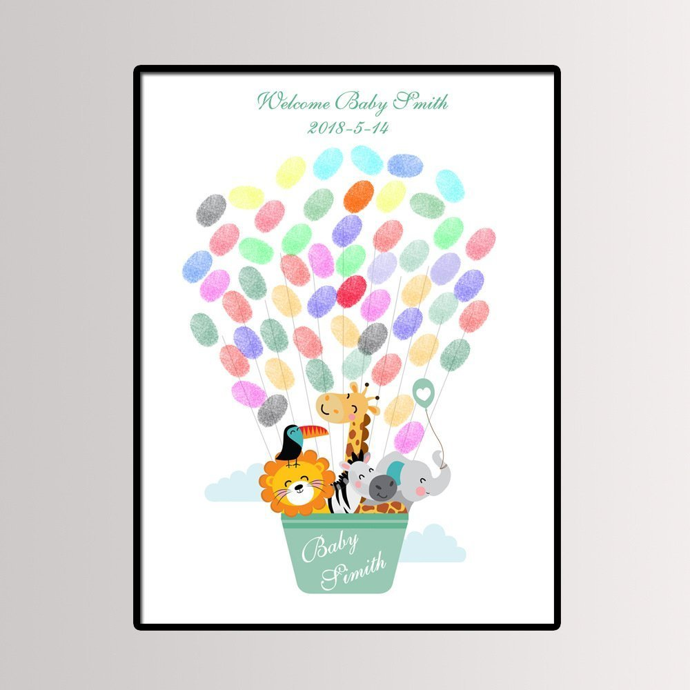 Fingerprint Painting Cartoon Animal Hot Air Balloon for Baby Shower or Child Birthday Party Guest Book Signing Canvas 11.8X15.7 by JJ Rainbow
