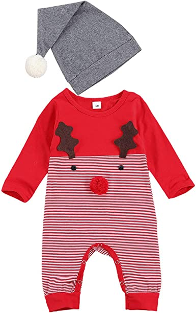 Sinhoon Baby Girl Boy Matching Christmas Clothes Long Sleeves Romper Jumpsuit Santa Claus Print Skirt Outfits