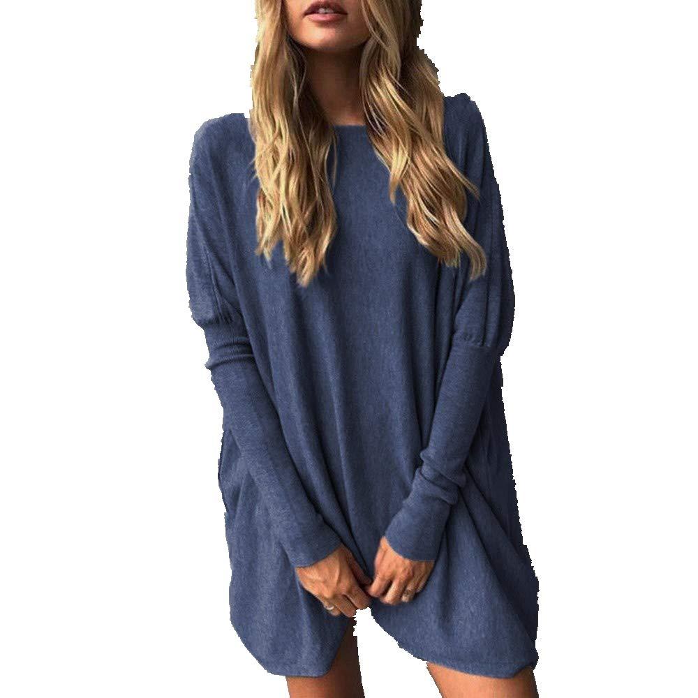 Rovinci_Womens Oversized Batwing Pullover Long Sleeve Loose Sweater Jumper Shirt Dress Tops Plus Size Pullover Sweatshirt