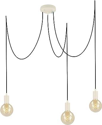 Pendant Light 3 Bulbs White Matt E27 With Textile Cable Diy Height Adjustable Ceiling Light In Vintage Design Hanging Lamp Living Room Lamp Ceiling Lighting Pendant Light Black 3 X 4 M Amazon De