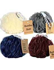 Buddha Bath Luxury Eco-Friendly Clean Mesh Bath Sponges 4 Pack Individually wrapped- Loofah - Lufa -luffa - Shower Pouf Ball - Sophisticato Color Pack