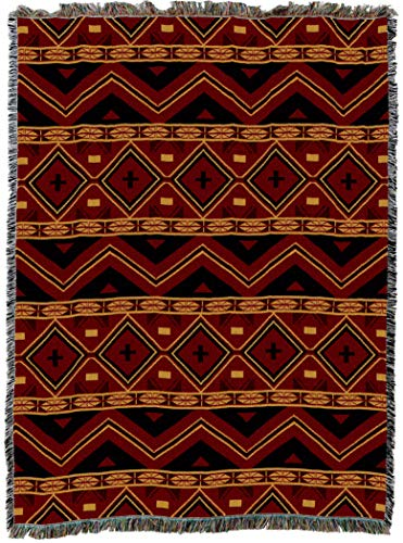 Tapestry Cotton Throw - Pure Country Weavers | Mesilla Southwest Blanket | Woven Tapestry Camp Throw with Fringe Cotton USA 72x54