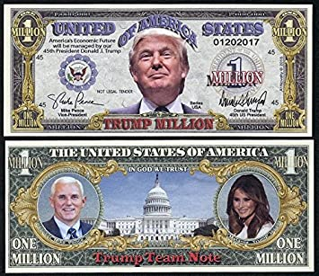 PAPER Campaign MONEY Million dollar 10 Lot-DONALD TRUMP For PRESIDENT 2016 U.S