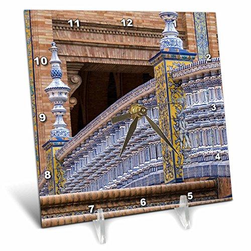 3dRose Danita Delimont - Bridges - Spain, Andalusia, Seville. Plaza de Espana, regionalism architecture. - 6x6 Desk Clock (dc_277886_1) by 3dRose