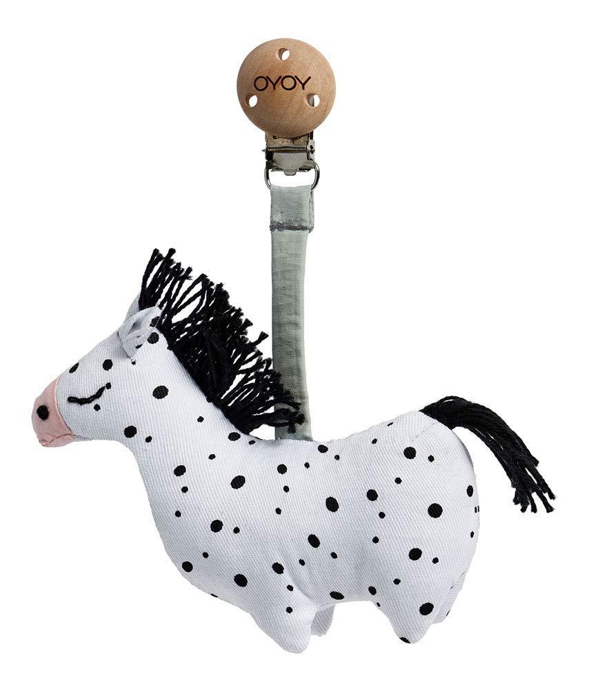 OYOY Mini Baby Kinderwagen Clip Pferd Baby Spielzeug mit Holzclip als Kinderwagenanh/änger aus Baumwolle