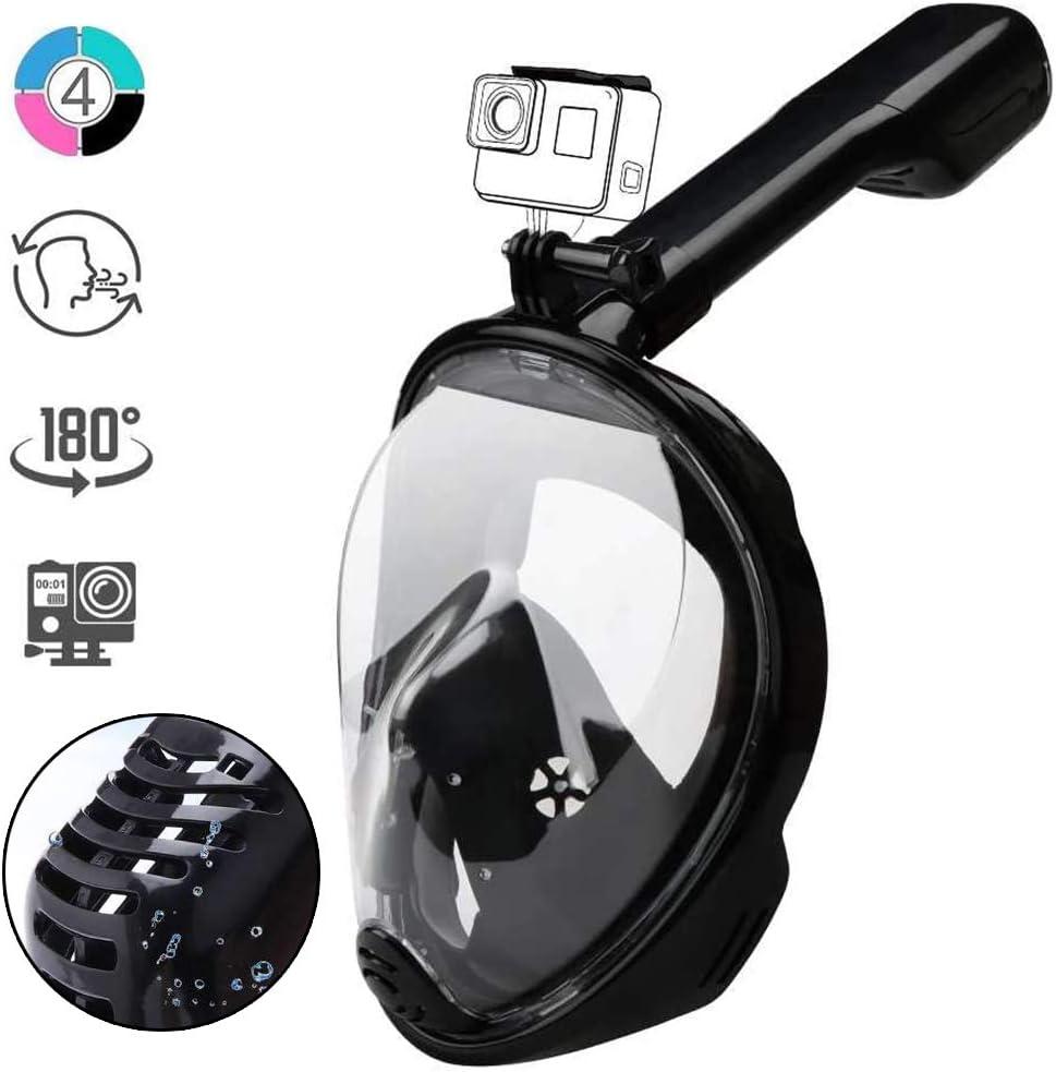 Máscara de esnórquel de cara completa 180° Seaview fácil respiración mascarillas de buceo para adultos o niños, antivaho con ranura para cámara de acción (negro)