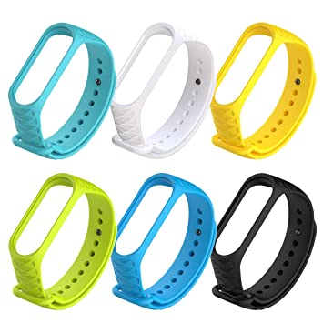 6 Pcs Xiaomi Mi Band 4 Strap Bracelet Replacement Silicone Strap for Xiaomi Mi 3/4 Band Smart Watch Wristband Waterproof Wearable Breathable
