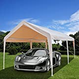 Azadx 10 x 20 Feet Heavy Duty Car Shed, Outdoor Carport Canopy Versatile Shelter with 6 Steel Legs and Foot Cloth for Commercial Outdoor Garden Courtyard Use (Khaki)