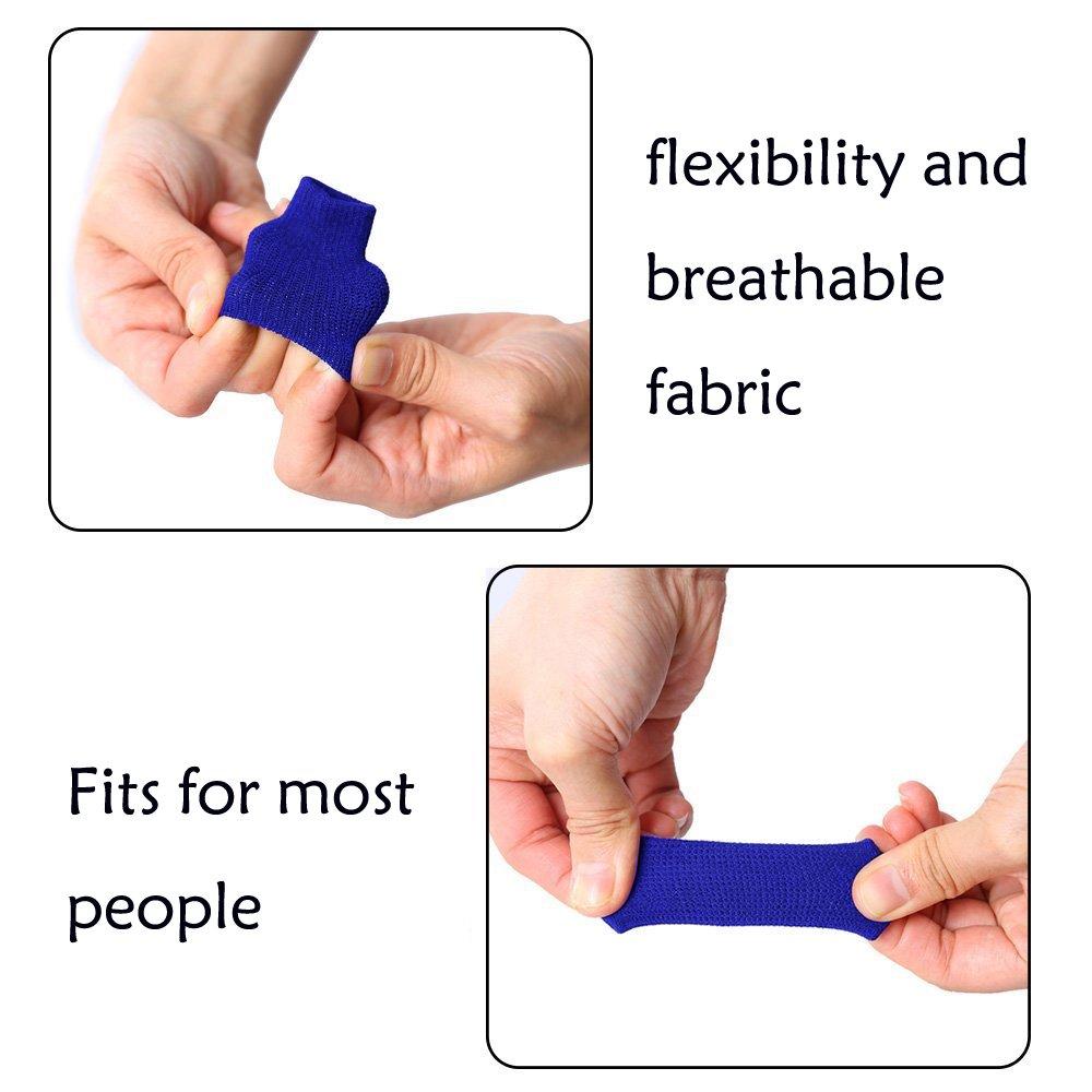10Black/&10Blue Busy Mom 20pcs Summer Sport Elastic Arthritis Trigger Finger Sleeves Braces Knuckle Compression Protector Prevent Calluses