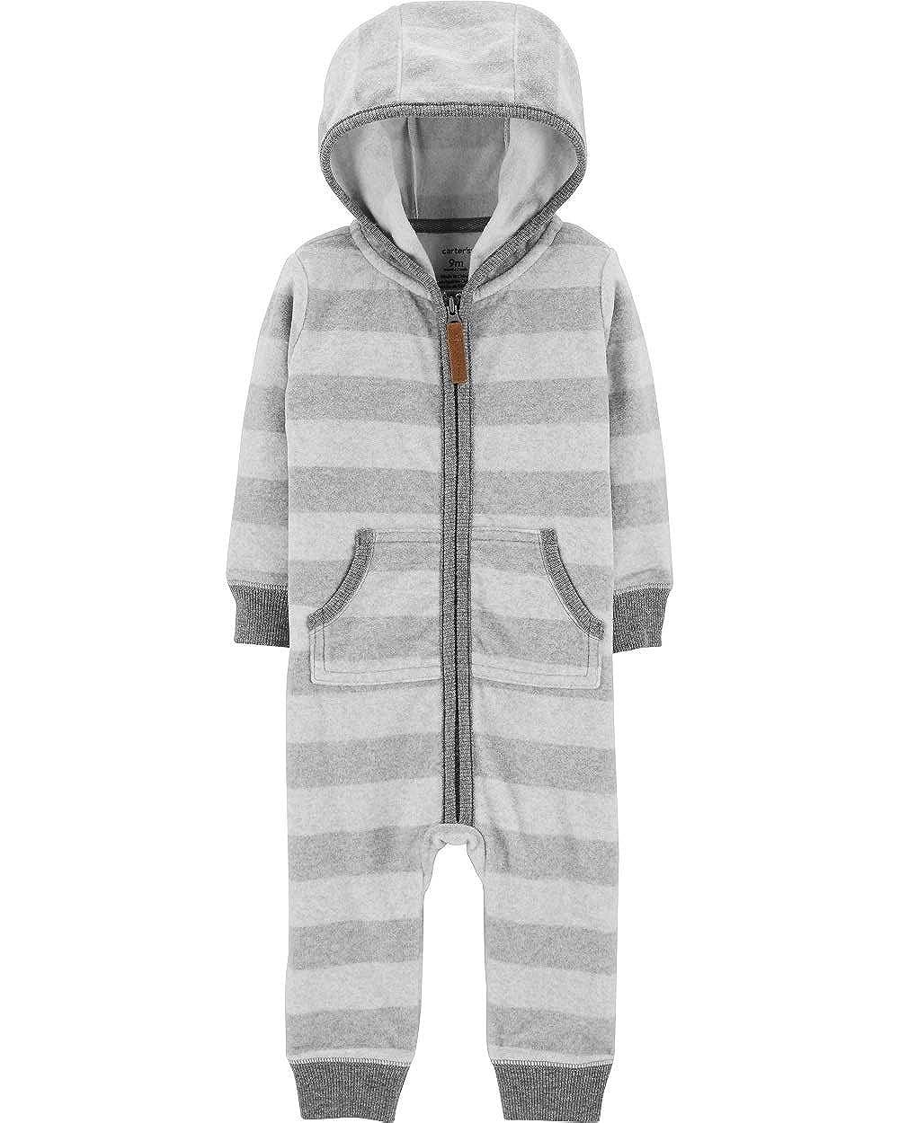 Newborn Grey Carters Baby Boys Fleece Striped Hooded Jumper