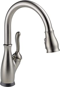 Delta Faucet Leland VoiceIQ Single-Handle Touch Kitchen Sink Faucet with Pull Down Sprayer, Alexa and Google Assistant Voice Activated, Smart Home, SpotShield Stainless 9178TV-SP-DST