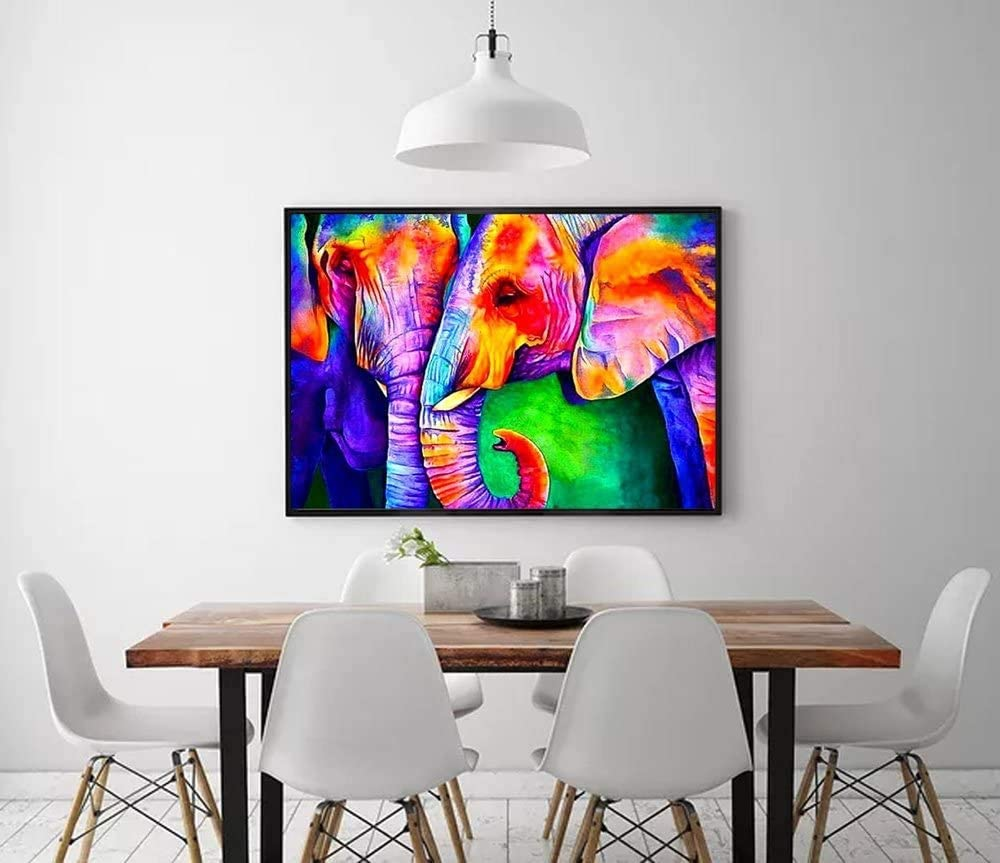 DIY Diamond Painting for Adults Kids Art Accessories with Full Drill for Home Wall Decor 12 x 16in, Colorful Elephant DIY 5D Diamond Painting Kits