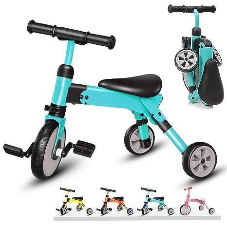 Bicicleta De Los Niños Equilibrio, 2 En 1 De 3 Ruedas del Triciclo para Niños Pequeños Balance Bebé Bicicleta, Triciclo Plegable Equilibrio Bicicleta,para Niños Y Niñas De 2-4 Años De,Azul: Amazon.es: Deportes