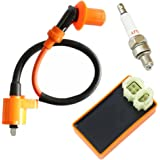 Ces Motor Performance Ignition Coil + Spark Plug A7TC + AC CDI for GY6 50cc 80cc 110cc 125cc 150cc 4-stroke Engines Scooter ATV Go Kart Moped Quad Pit Dirt Bike