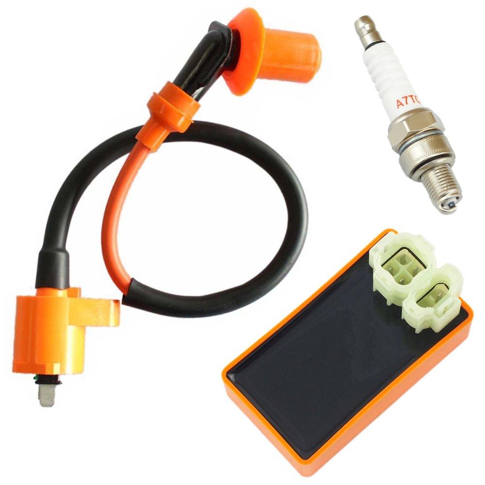 Amazon.com: Ces Motor Performance Ignition Coil + Spark Plug A7TC ...
