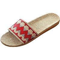 Bverionant Zapatilla Pantuflas de Estar por Casa para Hombres Mujeres, Zapatillas de Interior Hecho de Lino, Zapatillas…