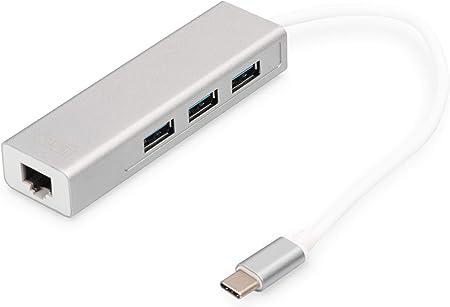 Digitus Usb 3 0 Typ C 3 Port Hub Mit Gigabit Ethernet Computer Zubehör