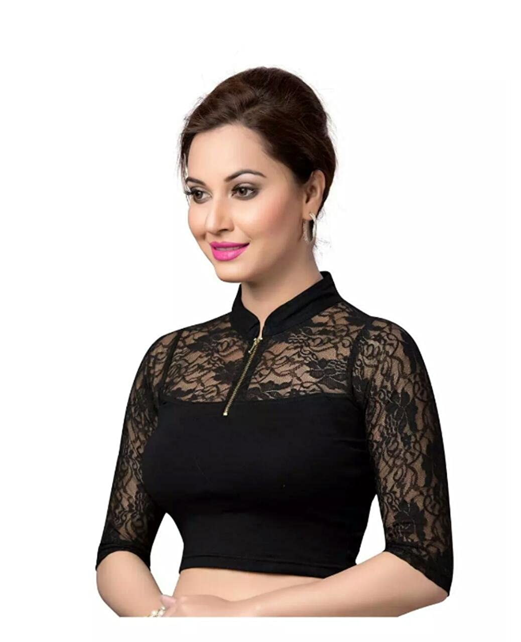 Elflady Black Collar Neck Women Top cum Blouse (pack of 1): Amazon.in:  Clothing & Accessories