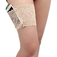 VIEEL Improved Thicken Womens Lace Non-Slip Concealed Thigh Holster Thigh Garter with 4 Small Purse Phone Security Pockets
