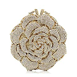 Crystal Studded Rhinestone Flower Clutch