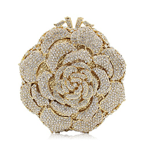 Yealize Women's Rhinestone Evening Bag Flower Clutch Purse Cross Body Crystal Handbag