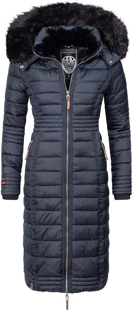 Navahoo Damen Wintermantel Mantel Steppmantel Winter Jacke lang Stepp warm Teddyfell B670