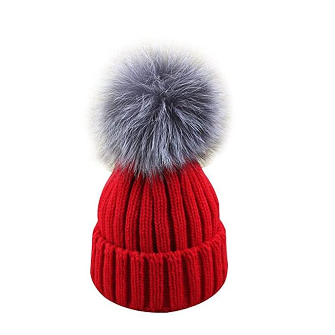 c16a8695 GuoMan Womens Girls Knitted Fur Hat Real Large Silver Fox Fur Pom ...