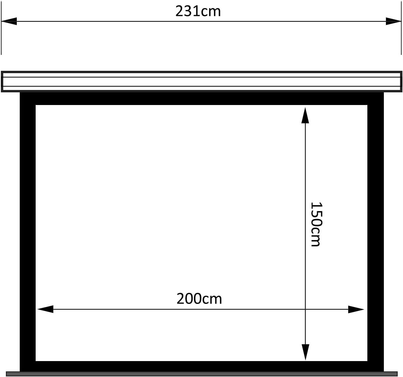 Maclean MC-992 Ecran Moteur Ecran Beamer Projecteur Ecran Home Cinema 100 4:3 16:9 200x150cm Montage au Plafond Montage Mural