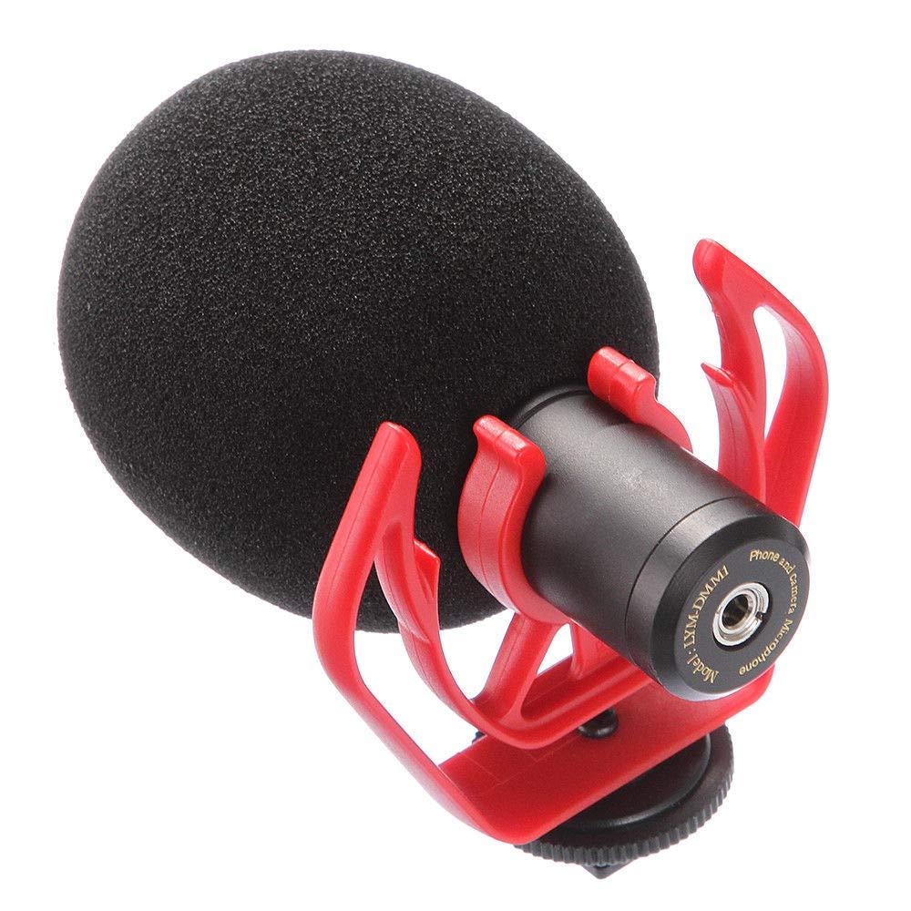 Runshuangyu Video Noise Reduction Microphone YouTube Facebook Livestream Recording Shotgun Mic with Shock Mount Bracket for DSLR Camera iPhone Huawei Smartphone