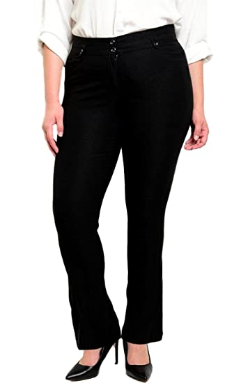 54eee3ba044 2LUV Plus Women s Straight Leg Dress Work Pants with Zip Fly Black 1XL at Amazon  Women s Clothing store