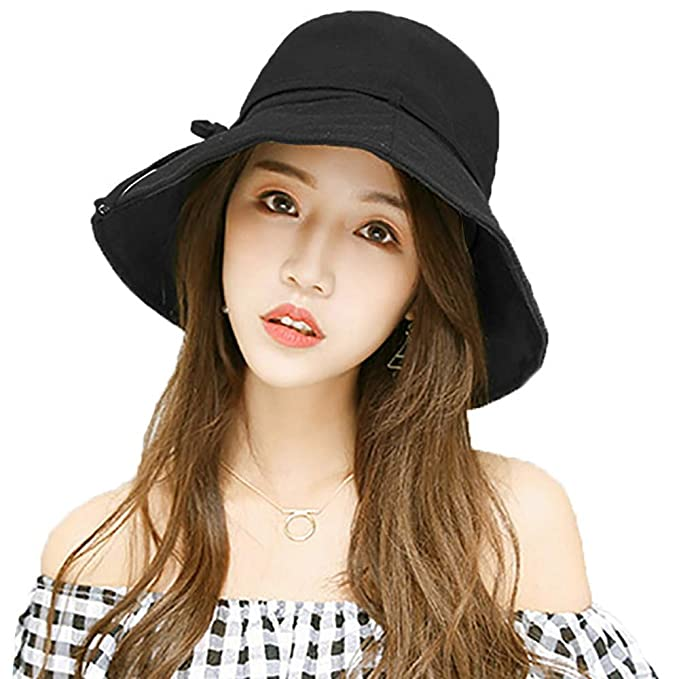 9e5041680d6 EINSKEY Womens Bucket Hat Summer Foldable Wide Brim Cotton Sun Hat Floppy  Beach Hat with Chin Strap - Adjustable Size Black  Amazon.co.uk  Clothing